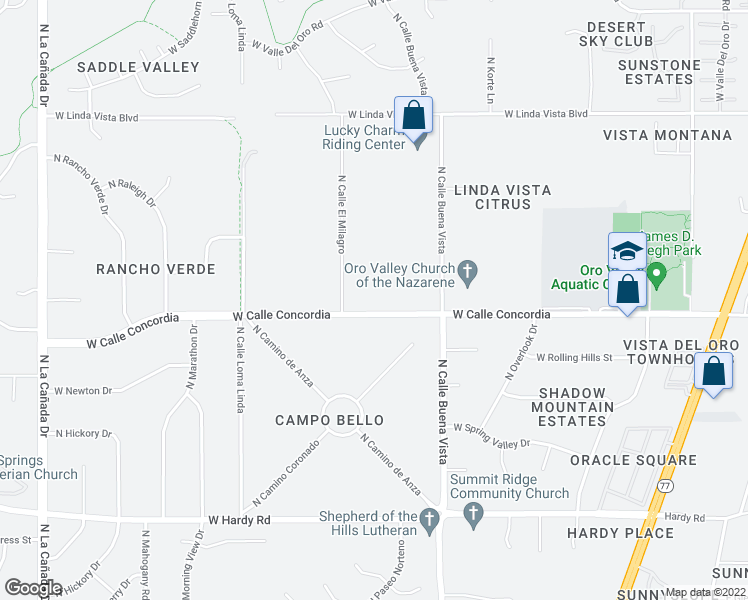 map of restaurants, bars, coffee shops, grocery stores, and more near 630 West Calle Concordia in Oro Valley