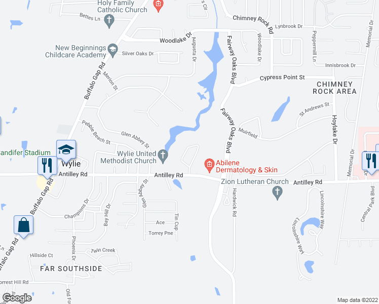 map of restaurants, bars, coffee shops, grocery stores, and more near 56 Tamarisk Circle in Abilene