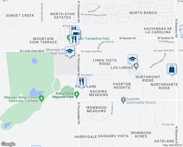 map of restaurants, bars, coffee shops, grocery stores, and more near 3697 West Stony Point Court in Tucson