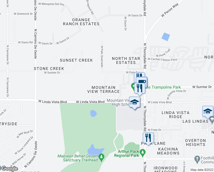 map of restaurants, bars, coffee shops, grocery stores, and more near 3980 West Linda Vista Boulevard in Tucson