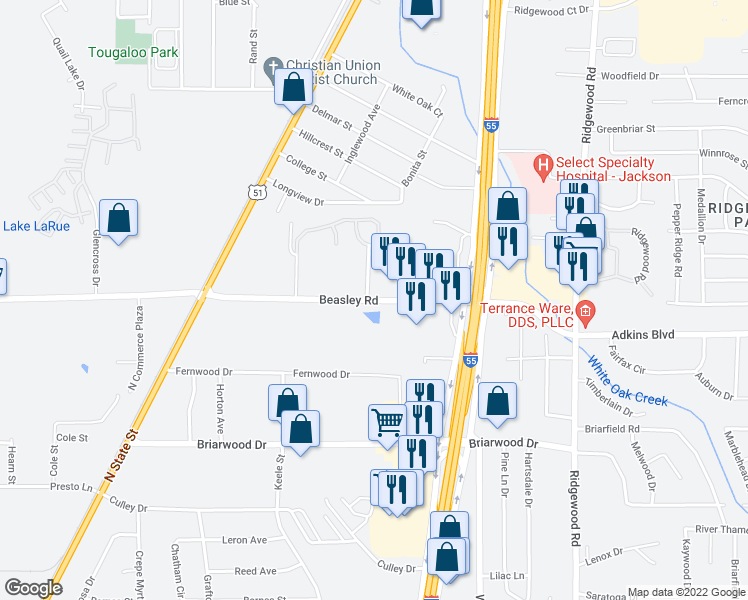 map of restaurants, bars, coffee shops, grocery stores, and more near 585 Beasley Road in Jackson