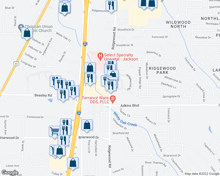 map of restaurants, bars, coffee shops, grocery stores, and more near 5827 Ridgewood Road in Jackson
