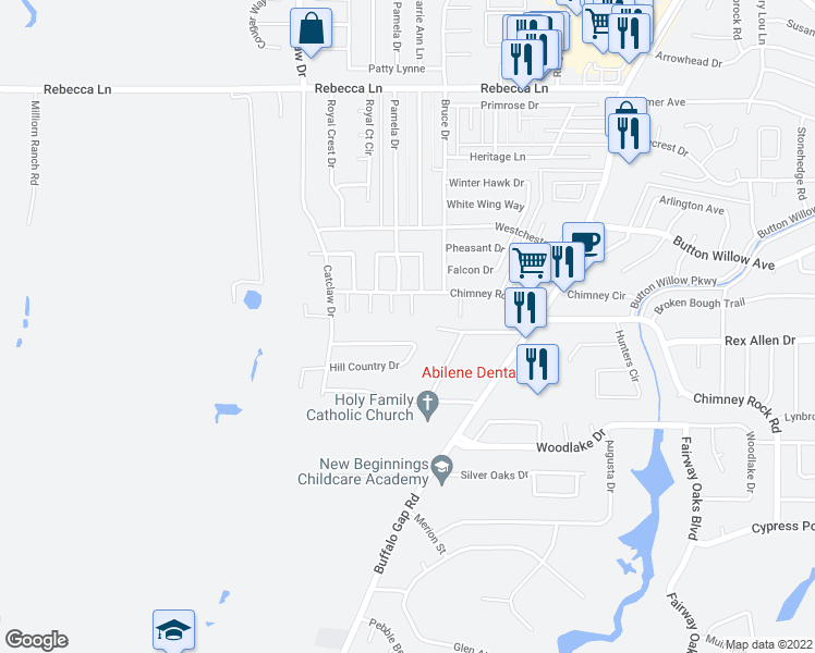 map of restaurants, bars, coffee shops, grocery stores, and more near 4934 Terri Ann Circle in Abilene