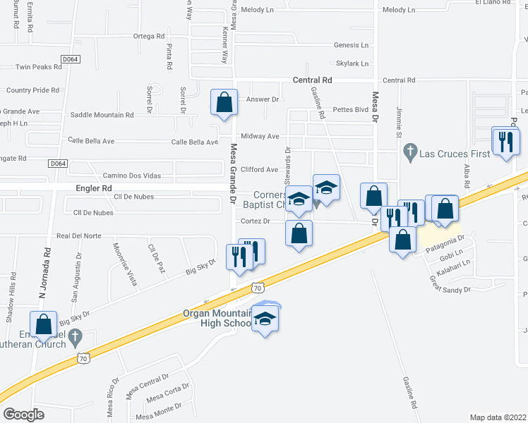 map of restaurants, bars, coffee shops, grocery stores, and more near 5084 Calle Verde in Las Cruces