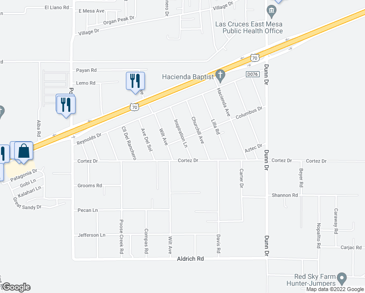 map of restaurants, bars, coffee shops, grocery stores, and more near 5075 Inspiration Lane in Las Cruces