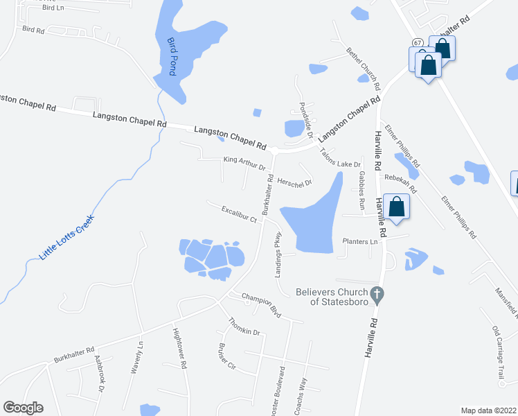 map of restaurants, bars, coffee shops, grocery stores, and more near 5723 Burkhalter Road in Statesboro