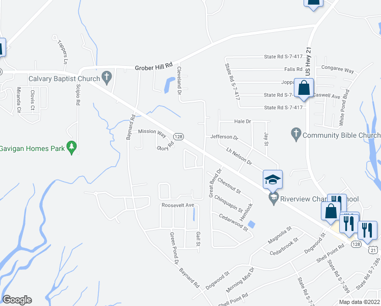 map of restaurants, bars, coffee shops, grocery stores, and more near Candida Drive in Beaufort