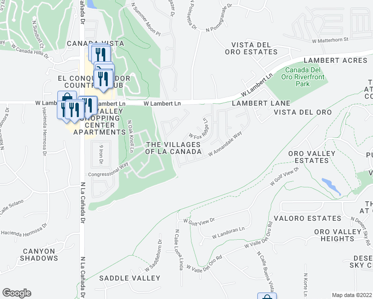 map of restaurants, bars, coffee shops, grocery stores, and more near 10210 North Fox Hunt Lane in Tucson