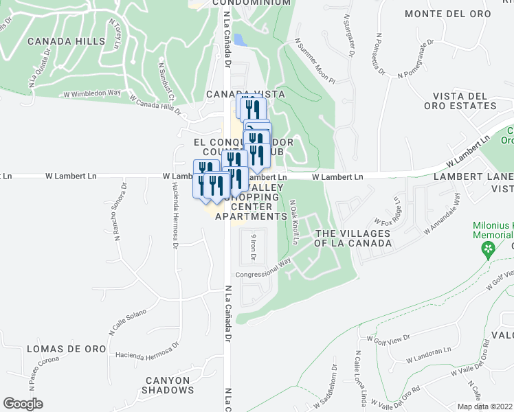 map of restaurants, bars, coffee shops, grocery stores, and more near 1301 West Lambert Lane in Tucson