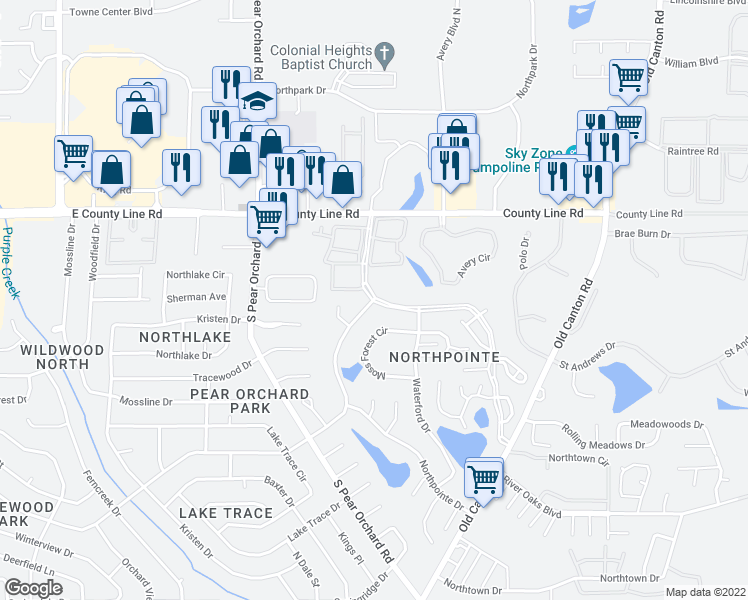 map of restaurants, bars, coffee shops, grocery stores, and more near 500 Northpointe Parkway in Jackson