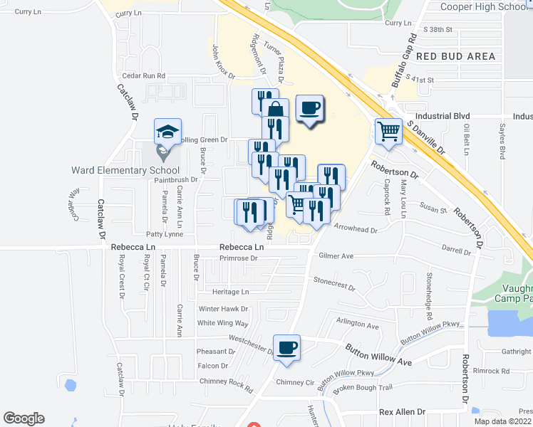 map of restaurants, bars, coffee shops, grocery stores, and more near 4450 Ridgemont Drive in Abilene