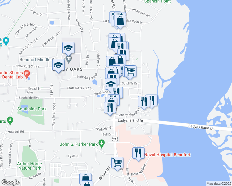 map of restaurants, bars, coffee shops, grocery stores, and more near 1409 Ribaut Road in Port Royal