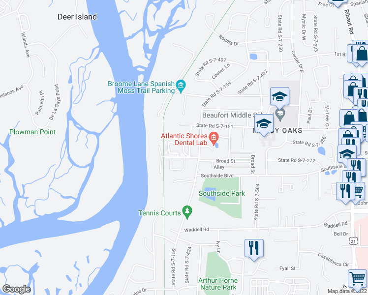 map of restaurants, bars, coffee shops, grocery stores, and more near Cedar Grove Circle in Beaufort
