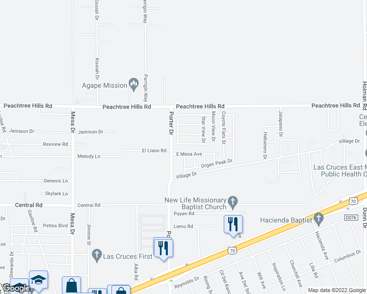 map of restaurants, bars, coffee shops, grocery stores, and more near 5886 Moon View Drive in Las Cruces