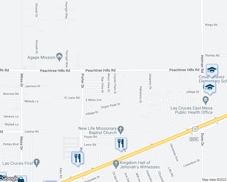 map of restaurants, bars, coffee shops, grocery stores, and more near 5849 Coyote Flats Street in Las Cruces