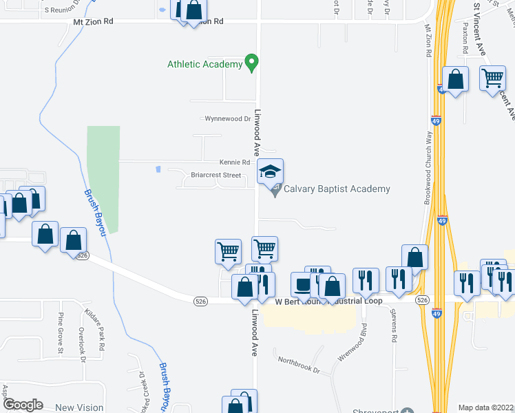 map of restaurants, bars, coffee shops, grocery stores, and more near 9320 Linwood Avenue in Shreveport