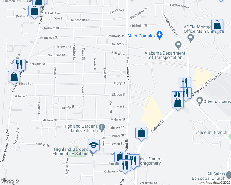 map of restaurants, bars, coffee shops, grocery stores, and more near 2115 Gibson Street in Montgomery