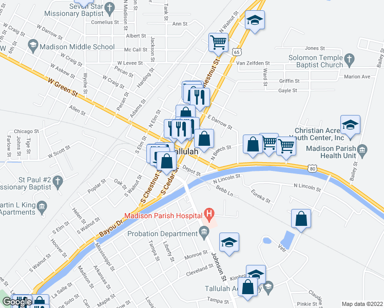 map of restaurants, bars, coffee shops, grocery stores, and more near 706 De Soto Street in Tallulah