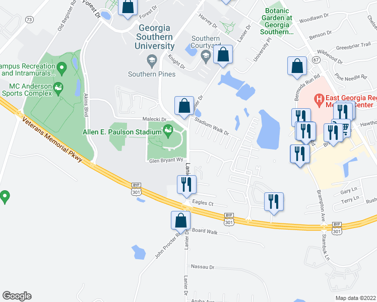 map of restaurants, bars, coffee shops, grocery stores, and more near 203 Lanier Drive in Statesboro