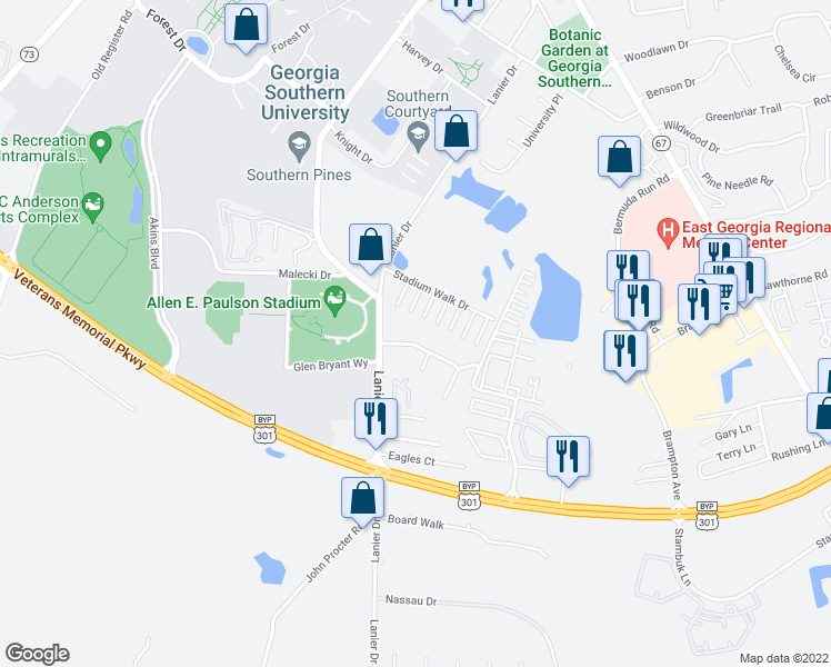 map of restaurants, bars, coffee shops, grocery stores, and more near 805 Robin Hood Trail in Statesboro