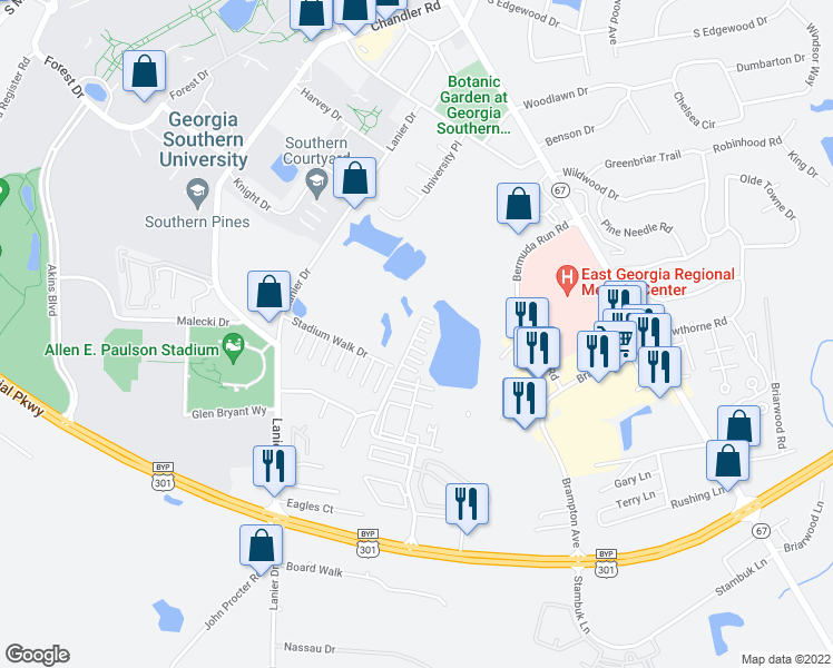map of restaurants, bars, coffee shops, grocery stores, and more near 103 Statesboro Place Circle in Statesboro