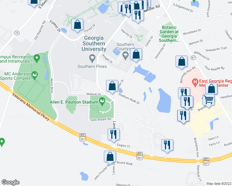 map of restaurants, bars, coffee shops, grocery stores, and more near 205 Lanier Drive in Statesboro