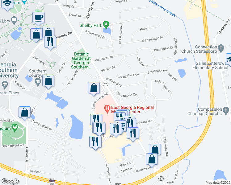 map of restaurants, bars, coffee shops, grocery stores, and more near 21 Greenbriar Apartments in Statesboro