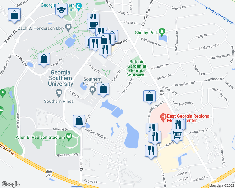 map of restaurants, bars, coffee shops, grocery stores, and more near 31 Southern Court in Statesboro