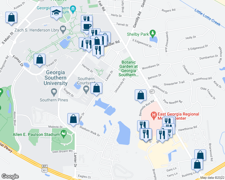 map of restaurants, bars, coffee shops, grocery stores, and more near 26 Southern Court in Statesboro