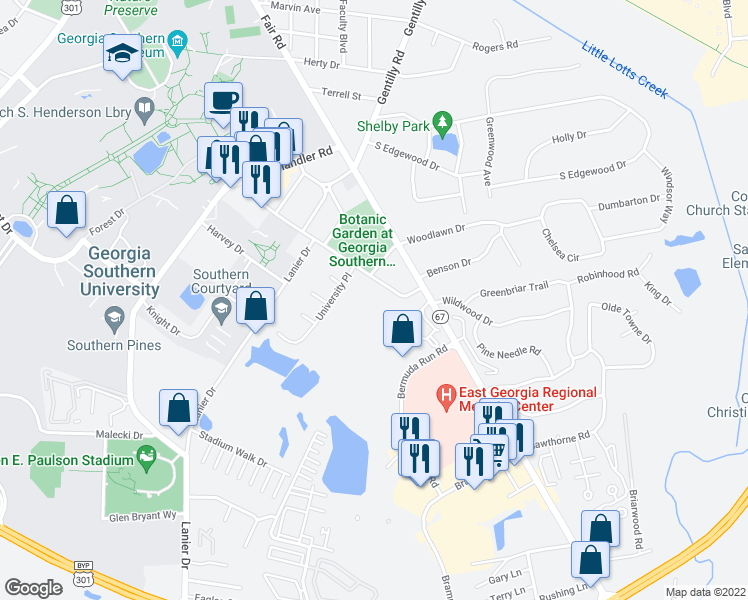 map of restaurants, bars, coffee shops, grocery stores, and more near 710 Georgia Avenue in Statesboro