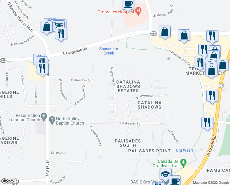 map of restaurants, bars, coffee shops, grocery stores, and more near North Labyrinth Drive in Oro Valley