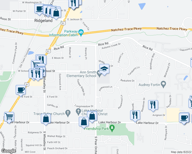 map of restaurants, bars, coffee shops, grocery stores, and more near 306 South Pear Orchard Road in Ridgeland