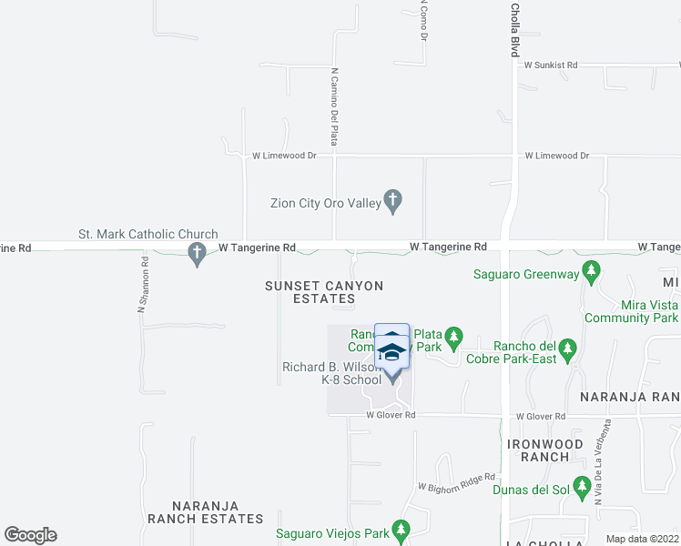 map of restaurants, bars, coffee shops, grocery stores, and more near 11961 North Mesquite Sunset Place in Oro Valley