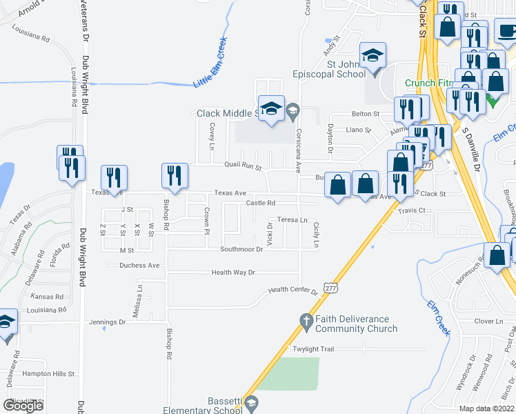 map of restaurants, bars, coffee shops, grocery stores, and more near 2233 Rexie Circle in Abilene