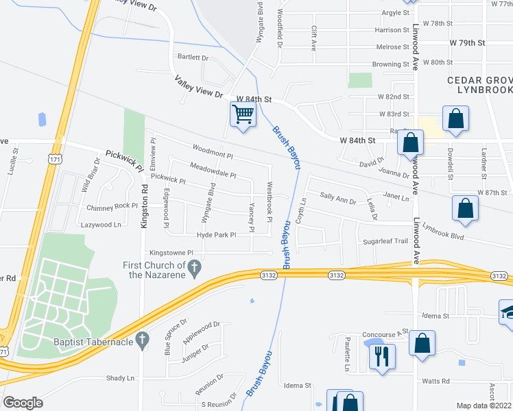 map of restaurants, bars, coffee shops, grocery stores, and more near 8709 Yancey Place in Shreveport