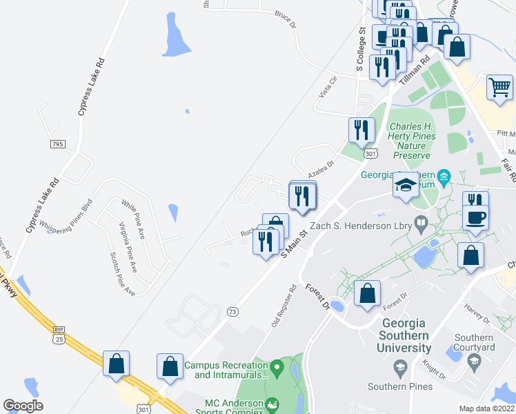 map of restaurants, bars, coffee shops, grocery stores, and more near 111 Rucker Lane in Statesboro