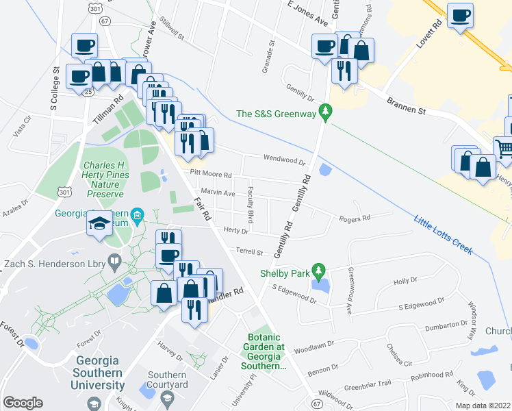 map of restaurants, bars, coffee shops, grocery stores, and more near 203 Faculty Boulevard in Statesboro