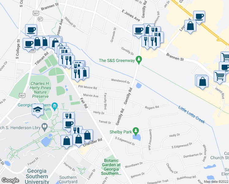 map of restaurants, bars, coffee shops, grocery stores, and more near 508 Pitt Moore Road in Statesboro