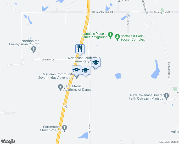 map of restaurants, bars, coffee shops, grocery stores, and more near 6750A Newell Road in Meridian