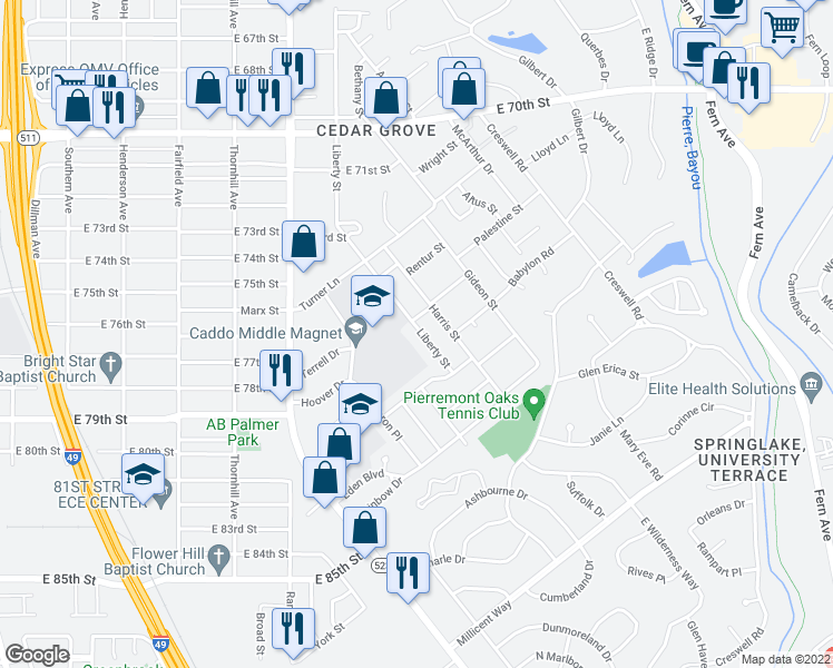 map of restaurants, bars, coffee shops, grocery stores, and more near 7608 Liberty Street in Shreveport