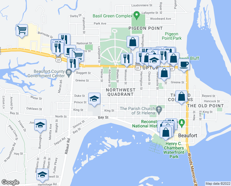 map of restaurants, bars, coffee shops, grocery stores, and more near 806 Bladen Street in Beaufort