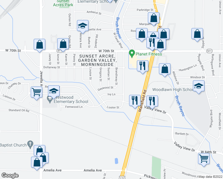 map of restaurants, bars, coffee shops, grocery stores, and more near 3027 Gaywood Street in Shreveport