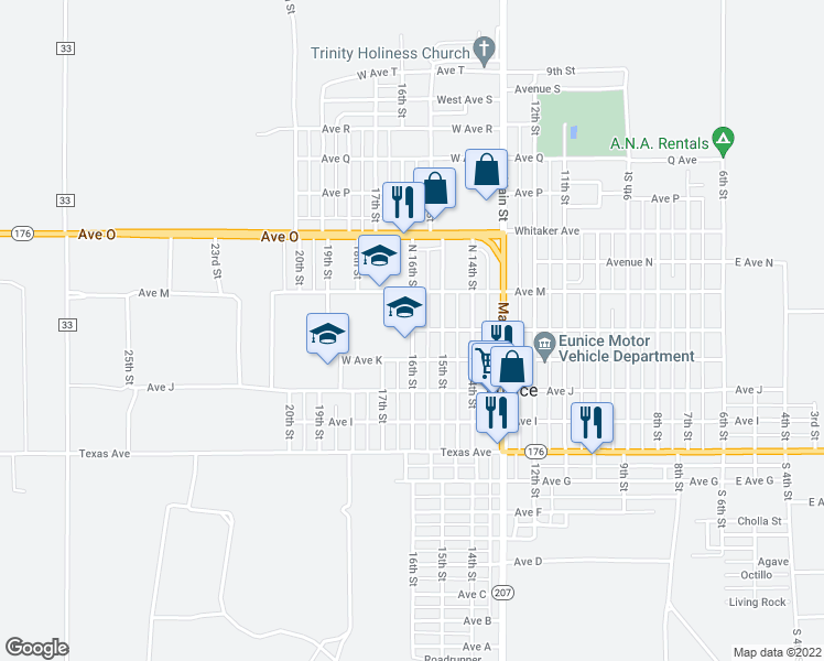 map of restaurants, bars, coffee shops, grocery stores, and more near 1112 16th Street in Hobbs