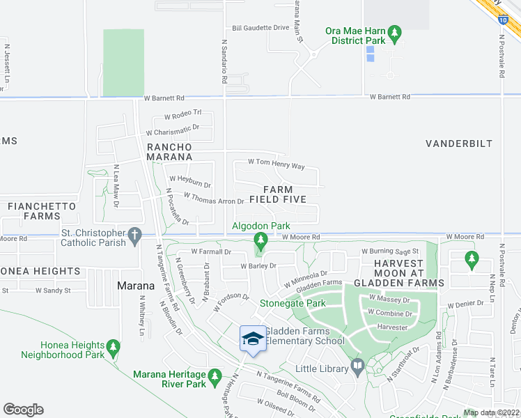 map of restaurants, bars, coffee shops, grocery stores, and more near 11691 West Thomas Arron Drive in Marana