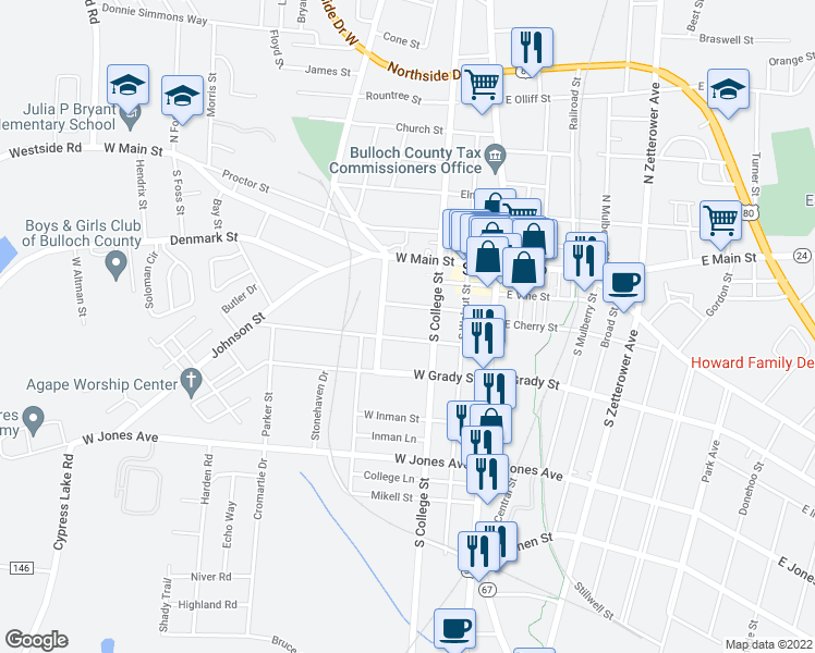 map of restaurants, bars, coffee shops, grocery stores, and more near 79 South College Street in Statesboro
