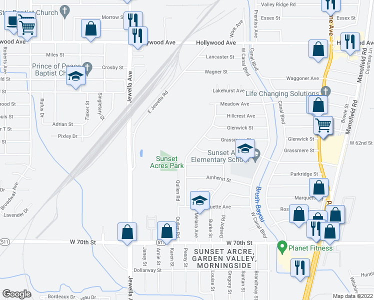 map of restaurants, bars, coffee shops, grocery stores, and more near 6514 Quilen Boulevard in Shreveport