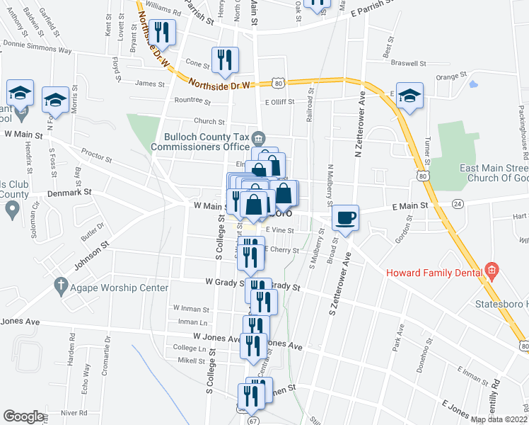 map of restaurants, bars, coffee shops, grocery stores, and more near in Statesboro