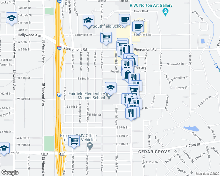 map of restaurants, bars, coffee shops, grocery stores, and more near 923 Drexel Drive in Shreveport