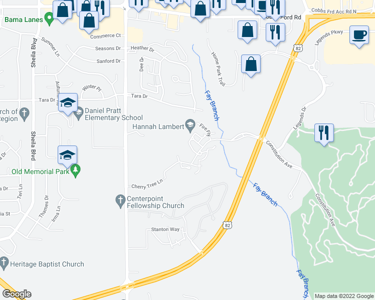 map of restaurants, bars, coffee shops, grocery stores, and more near 1024 Saddle Ridge in Prattville