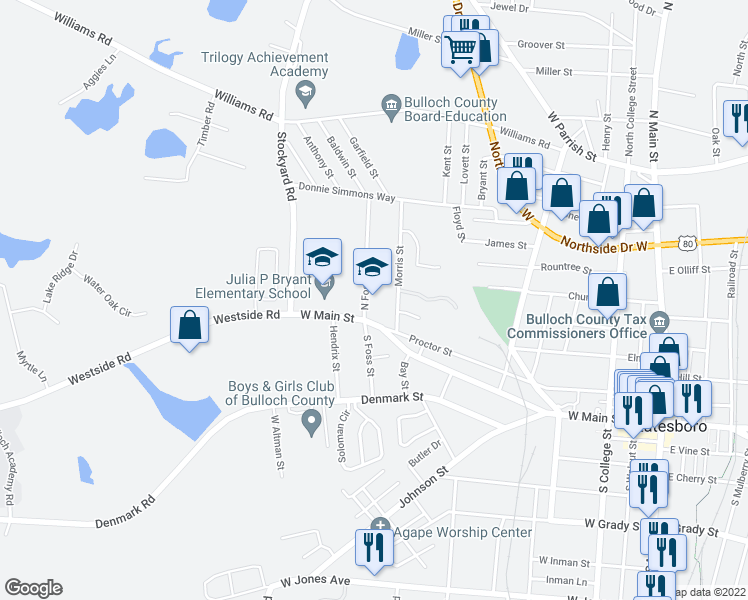 map of restaurants, bars, coffee shops, grocery stores, and more near 114 North Foss Street in Statesboro